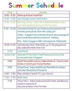 Giving kids a schedule for playtime, chores and summer homework ;) GingerBabyMama Giving kids a schedule for playtime, chores and summer homework ; Kids Summer Schedule, Summer Activities For Kids, Summer Kids, Toddler Schedule, Daily Schedule Kids, Kid Activities, Schedules For Kids, Schedule Board, Cleaning Schedules