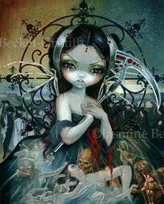 Unseelie Court WAR Angel Fairy soldier fairy by Jasmine Becket-Griffith - unseelie court series - war guns nuclear anti-war bomb angel poppy poppies gothic