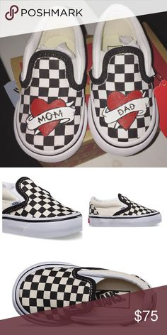 CHECKERBOARD Love Mom and Dad Custom Vans These lovely shoes are hand painted using high quality acrylic paints and sealed with an acrylic sealer to protect the artwork, assuring flexibility and long lasting wear.  This listing is for a pair of custom painted, made to order, mom and dad tattoo heart sneakers. These shoes are UNISEX sizing. COLOR: BLACK/OFF-WHITE/WHITE Comes with original shoe box. PLEASE KNOW YOUR SHOE SIZE BEFORE PURCHASING. Brand: vans. ****Photography and artwork of first…