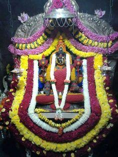 Goddess Laxmi with adorned Turmeric and Vermilion called Haldi and Kumkum  alankar, Shringaar