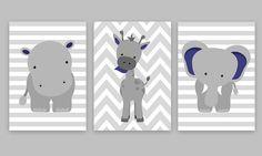 Zoo Nursery Art Elephant Giraffe Hippo by SweetPeaNurseryArt
