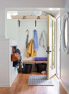 Make the most of your entryway with baskets that easily slip under a bench or on an upper shelf. Create a drop zone for shoes by tucking a couple of large, sturdy baskets on the floor near the door. #storage #basketstorageideas #entryway #closetorganization #bhg Wire Storage, Storage Baskets, Door Storage, Smart Storage, Downsizing Tips, Large Woven Basket, Traditional Toilets, Entryway Shelf, Bathroom Baskets