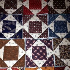Mini Civil War Quilt Blocks Beautiful 3 Finished, Handmade by Quilt Block Patterns, Pattern Blocks, Quilt Blocks, Square Patterns, Small Quilts, Mini Quilts, Quilting Designs, Quilting Ideas, Civil War Quilts
