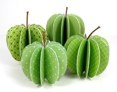 Paper Apples - Very Cute....This technique would also work for any other type of symmetrical fruit ...
