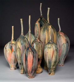 Thrown earthenware with colored slips and oxides by Nicholas Bernard