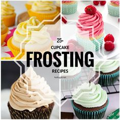 If you're looking for a fun, new, tasty cupcake frosting recipe you have hit the jackpot with this sweet list of cupcake frosting recipes. Cupcake Frosting Recipes, Homemade Frosting, Yummy Cupcakes, Cupcake Cakes, Cup Cakes, Cupcake Ideas, Cherry Frosting, Chocolate Buttercream Frosting, Chocolate Peanut Butter Cupcakes