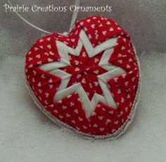Quilted Heart Valentine Ornament or Bowl Filler Red and White Hearts.