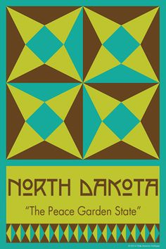 NORTH DAKOTA quilt block. Ready to sew. Single 4x6 block $4.95.