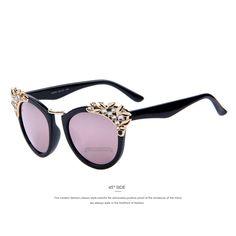 Lunettes de soleil vintage des années 60 dans un style branché avec la mode des temples métalliques couleur bronze lunettes tendances 2014 (imprimé léopard) xsH2UX