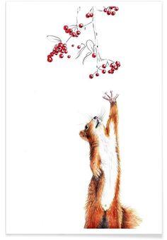 Squirrel als Premium Poster von Janine Sommer | JUNIQE