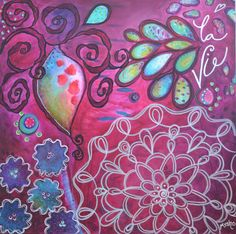 Blossom - la vie by mysho  24x24  www.mysho.ca Les Oeuvres, My Arts, Journal, Painting, Canvas, Paint, Draw, Journals