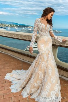 crystal design 2017 bridal long sleeves deep sweetheart neckline full embellished bodice ivory color elegant glamorous fit and flare mermaid wedding dress keyhole back chapel train (rian) mv
