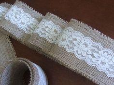 Burlap Bridal Shower Decorations   Burlap and vintage cream lace ribbon wedding decoration shower party ...