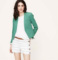 Mix in solid blazers with navy pants/pencil skirt and printed blouse.