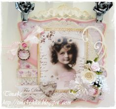 Vintage card created by LLC DT Member Tina Klix, using papers from Maja Design's Sofiero collection.