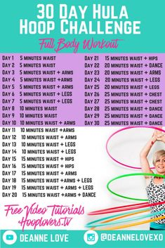 30 Day Hula Hoop Challenge Hula Hoop Full Body Workout Get ready to feel strong and fabulous. Join the 30 day hula hoop challenge for free : start spinning today! Hula Hoop Workout, Hula Hoop Exercise, Workout Days, Workout Challenge, Body Challenge, Workout Body, Body Workouts, Boxing Workout, Workout Fitness