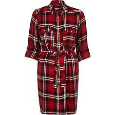 RIVER ISLAND: Red check shirt dress £35.00
