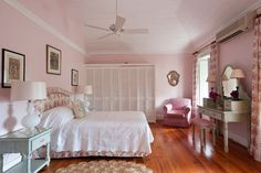 Pink bedroom at the Leamington House (once the residence of the American Ambassador) in the exclusive Leamington Estate in Barbados