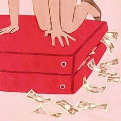 #money #girl #suitcase #illustration #illustrator #tatsurokiuchi #life #travel