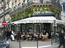 Café  Primarily locations for coffee and alcoholic drinks. Tables and chairs are usually set outside, and prices marked up somewhat en terrasse. The limited foods sometimes offered include croque-monsieur, salads, moules-frites (mussels and pommes frites) when in season. Cafés often open early in the morning and shut down around nine at night