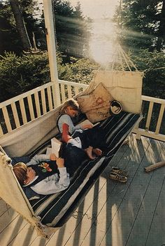 "Adventuring in books on the swing of grandmother's porch, two vacationing children store up present knowledge and future memories on Squirrel Island."" - National Geographic, 1977, photographed by David Hiser.    This is so awesome."