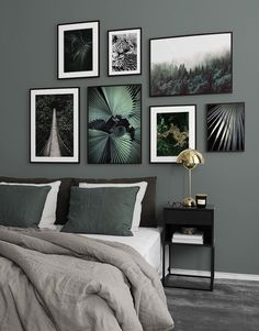Picture wall in bedroom. Bedroom decor and posters Picture wall in bedroom. Bedroom decor and postersDlm Beistelltisch Xl white HayHayLiving room wall in Kontich, color: Oak truffle steinersteinerHasen. Gallery Wall Bedroom, Gallery Walls, Bedroom Green, Room Decor Bedroom, Images Murales, Inspiration Wand, Bedroom Inspiration, Desenio Posters, House Of Philia