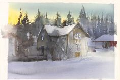 Lars Lerin (b. Sweden) sunlit house in the winter landscape watercolour. 51 x 75 cm. Watercolor Artists, Watercolor Landscape, Watercolor And Ink, Artist Painting, Landscape Art, Landscape Paintings, Watercolor Paintings, Watercolor Ideas, Watercolours