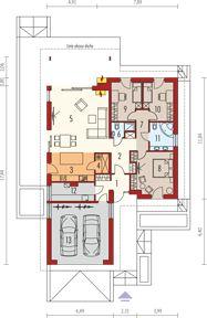 Simon IV G2 energo - Rzut parteru Sims House Design, Small House Interior Design, Modern House Design, Bungalow House Plans, New House Plans, House Paint Exterior, Dream House Exterior, Modern Bungalow Exterior, House Construction Plan