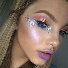350 best images about rave makeup Festival Makeup Glitter, Glitter Makeup, Sparkle Makeup, Music Festival Makeup, Glitter Eye, Glitter Hair, Music Festivals, Blue Glitter, Fashing Make Up