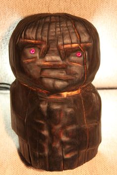 """""""Black kitsch. Ongon №3."""" - Rustic wood sculpture. Contemporary art object."""