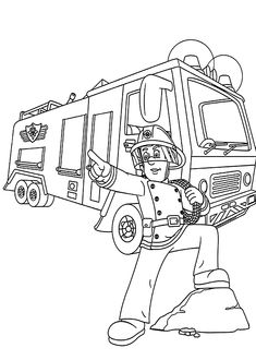 Firetruck coloring pages for kids, printable free