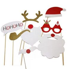 Christmas Photo Booth Props DIY Kit for Party Supplies Featuring Glasses Moustache Deer Horn Santa Hat New Year Decoration Christmas Photo Booth Props, Christmas Booth, Diy Photo Booth Props, Christmas Party Decorations, Noel Christmas, Xmas Party, Christmas Photos, Christmas Crafts, Decoration Party