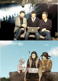 What happens when the Hobbit actors use a laptop in character