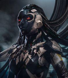 ArtStation - seer, by Daryl Mandryk Arte Cyberpunk, Cyberpunk Girl, Cyberpunk Character, Alien Concept Art, Concept Art World, Character Concept, Character Art, Character Design, Female Cyborg