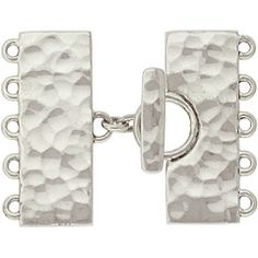 Sterling Silver Five Strand Silver Toggle Clasp with hammered finish