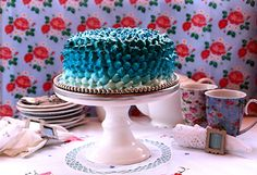 Turquoise Ombre Meringue Cake