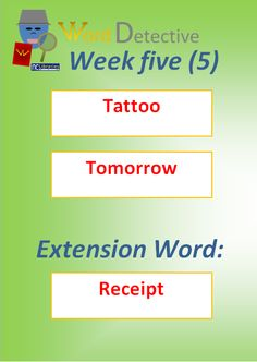 Here are the words for Week Five: Tattoo, Tomorrow and Receipt