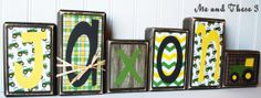 Wood letter name blocks customized with your colors and style-John Deere boy tractor