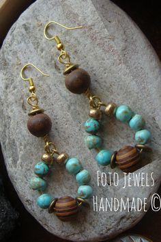 Σκουλαρικια κρεμαστα με τυρκουαζ & ξυλινες χαντρες 8€ #foto jewels fotinimamali@yahoo.gr 6973386152 Turquoise Necklace, Jewelery, Abstract, Earrings, How To Make, Fashion, Red, Stud Earrings, Jewlery
