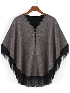 Grey V Neck Zipper Tassel Batwing Cape