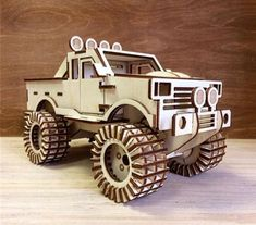 Dxf for CNC router and laser cutting. 3d Laser, Laser Cut Wood, Laser Cutting, Wooden Toy Trucks, Wooden Toys, Cnc Router, Cardboard Car, Wood Toys Plans, Laser Cutter Projects