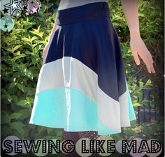 Cute curved pieced skirt with wide waistband - tutorial