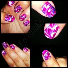 Marble Nail Art - OPI Pinks and Purples by LaVitaDi