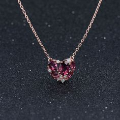 natural Tourmaline Pendant Silver heart-shaped pendant necklace 925 multicolored necklaces wholesale women's clavicle //Price: $US $153.81 & FREE Shipping //                        #style