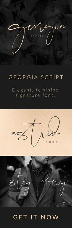 Georgia Script - A perfect font to use as (blog) signature. Could also be used for logo design.