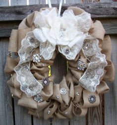 Items similar to Wedding Bride Country Burlap Bling Wreath Ivory Lace Silver Brooch Crystals Silver Rhinestones Pearl Dangle Formal Country Wedding on Etsy Wedding Country, Chic Wedding, Wedding Bride, Country Chic, Country Decor, Wedding Wreaths, Wedding Decorations, Wedding Wishlist, Vintage Wreath