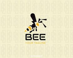 Abstract logo with the shape of a bee composed of abstract shapes with yellow and black colors.(bee,insect,animal insect,flying,advertising,farming,natural products,nature,abstract,fly,wings,beauty, logo for sale, logo design, logo, logotype, logotipo, vector, illustration).