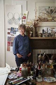 Angie Lewin, artist of St Jude's gallery in her Edinburgh studio.