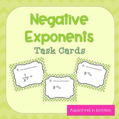 This set includes 24 task cards that include converting a negative exponent to a positive exponent, converting a positive exponent to a negative exponent, and simplifying expressions with multiple exponents.  This can be used for centers, extra practice, or math remediation.For more resources for exponents, see:Multiplying and Dividing Monomials Task CardsPower of a Power Scaffolded NotesPower of a Power, Power of a Product Task CardsProperties of Powers Cheat Sheets, Sample Problems and…