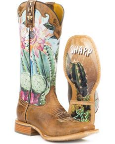 hochzeitsschuhe stiefel Tin Haul Womens Cactilicious Looking Sharp Sole Cowgirl Boots - Square Toe, Brown Cow Girl, Cowboy Boots Women, Western Boots, Western Wear, Ladies Boots, Brown Cowgirl Boots, Western Chic, Cactus Boots, Wedding Boots